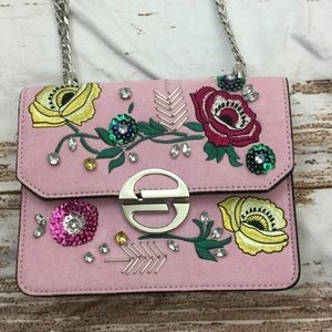 Topshop faux suede embroidered flower bag